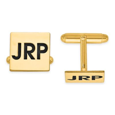 Yellow Gold-Plated Sterling Silver Recessed Enamel Initial Polished Square Cufflinks