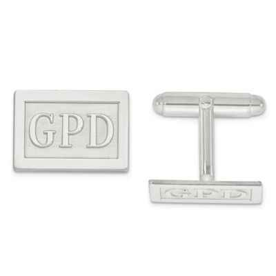 Sterling Silver Raised Block Initial Inlay Rectangle Cufflinks
