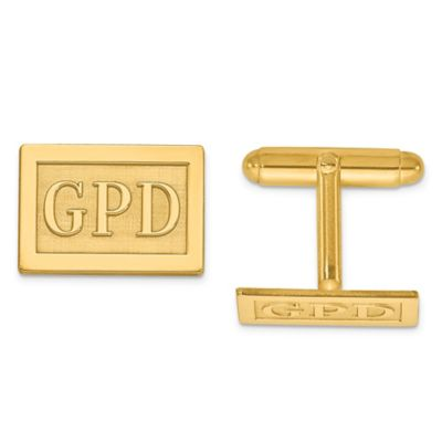 Yellow Gold-Plated Sterling Silver Raised Block Initial Inlay Rectangle Cufflinks