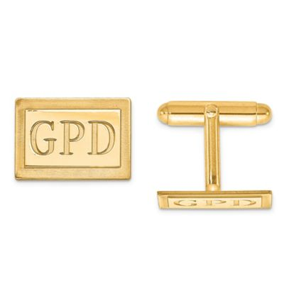 Yellow Gold-Plated Sterling Silver Recessed Initial Inlay Rectangle Cufflinks