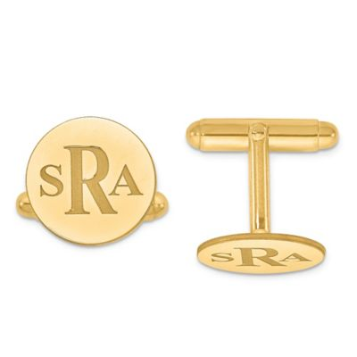 Yellow Gold-Plated Sterling Silver Recessed Block Initial Round Cufflinks
