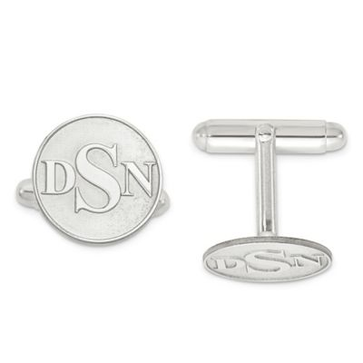 Yellow Gold-Plated Sterling Silver Raised Circle Initial Cufflinks