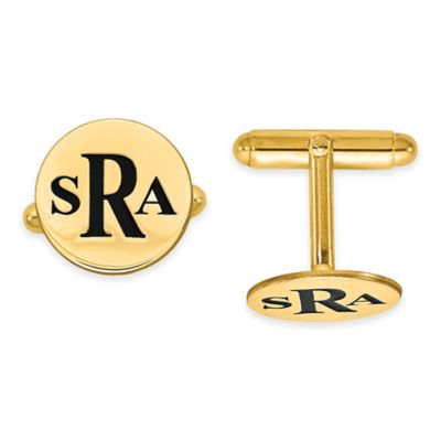 Yellow Gold-Plated Sterling Silver Enamel Initial Round Cufflinks