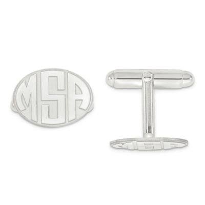 Sterling Silver Raised Curved Initial Oval Cufflinks