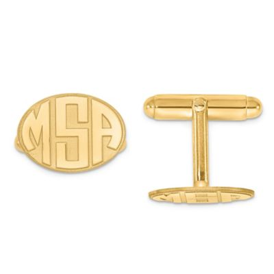 Yellow Gold Plated Sterling Silver Raised Curved Initial Oval Cufflinks