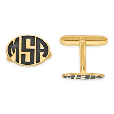 Yellow Gold Plated Sterling Silver Enamel Block Initial Oval Cufflinks