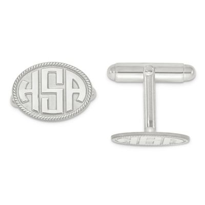 Sterling Silver Twisted Border Oval Initial Cufflinks