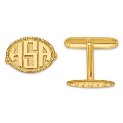 Gold Plated Sterling Silver Twisted Border Oval Initial Cufflinks