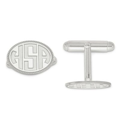Sterling Silver Twisted Border Recessed Block Initial Oval Cufflinks