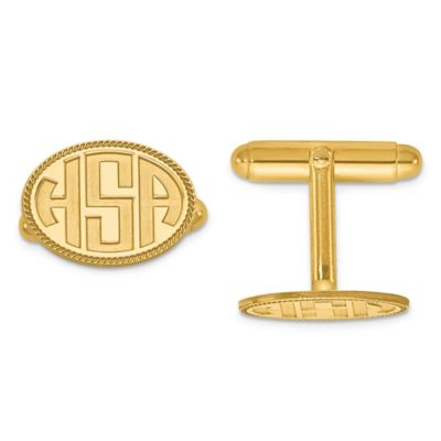 Yellow Gold Plated Sterling Silver Twisted Border Recessed Block Initial Oval Cufflinks