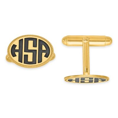 Yellow Gold Plated Sterling Silver Enamel Twisted Border Block Initial Oval Cufflinks