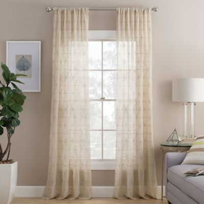 Prism 63-Inch Rod Pocket Sheer Window Curtain Panel in Natural