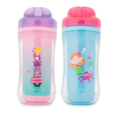 Dr. Browns® 2-Pack 10 oz. Spoutless Insulated Cups in Pink