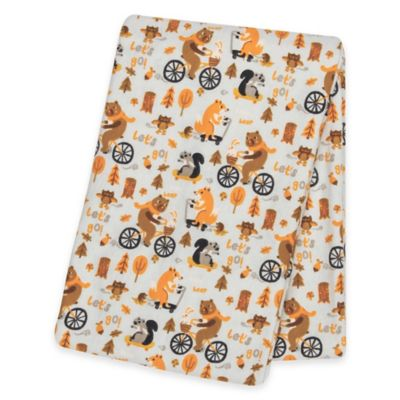 "Trend Lab® ""Let's Go"" Deluxe Flannel Swaddle Blanket in Orange"