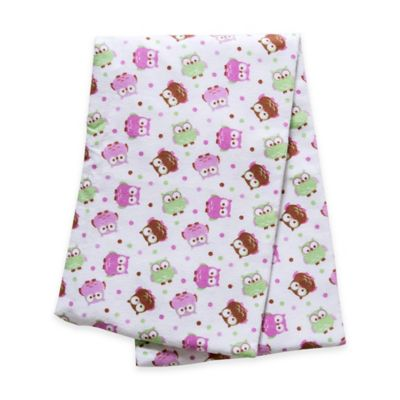 Trend Lab® Owls Deluxe Flannel Swaddle Blanket in Pink