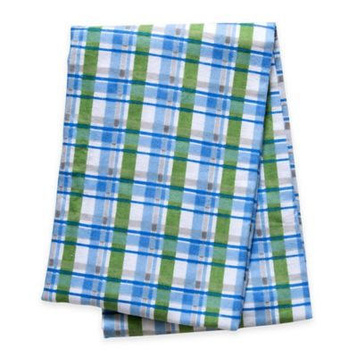 Trend Lab® Plaid Deluxe Flannel Swaddle Blanket in Blue