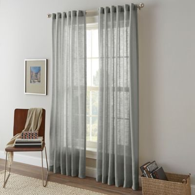 Shimmer Sheer 63-Inch Rod Pocket Window Curtain Panel in Linen