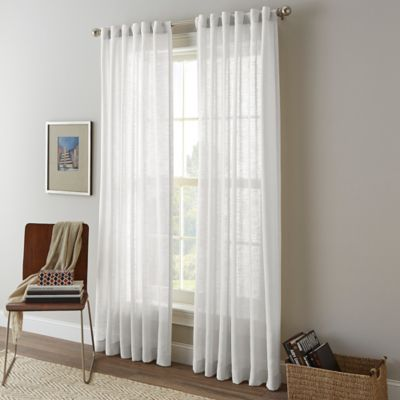 Shimmer Sheer 63-Inch Rod Pocket Window Curtain Panel in White