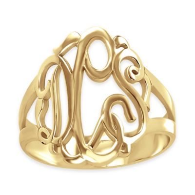 Alison & Ivy® 24K Yellow Gold-Plated Sterling Silver Size 7.5 Ladies' Script Ring