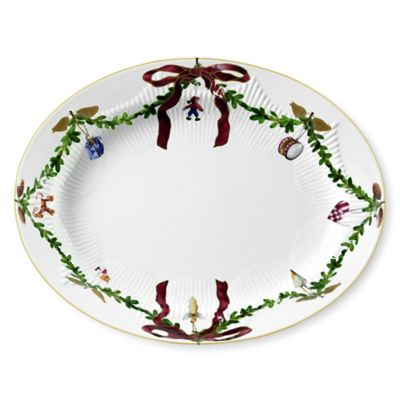 Royal Copenhagen Star Fluted Christmas Oval Platter