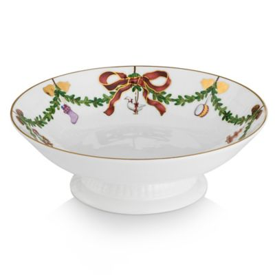 Royal Copenhagen Star Fluted Christmas Footed Compote