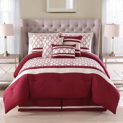 Alto Embroidered 7-Piece King Comforter Set in Brick