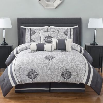 Mehran Jacquard 7-Piece Queen Comforter Set in Grey/Ivory