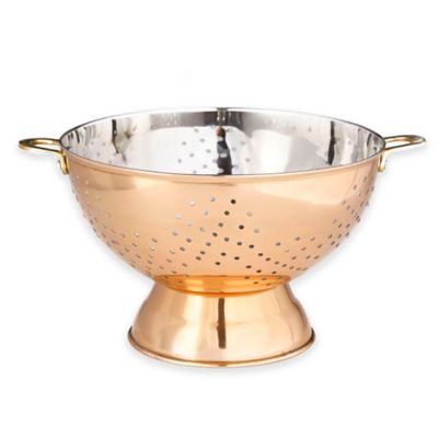 Old Dutch International 12-Inch Decorative Copper Footed Colander