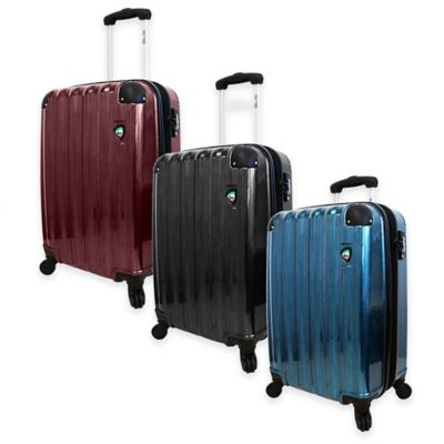 Mia Toro ITALY Spazzolato Lucido 21-Inch 8-Wheel Expandable Carry On Spinner in Black