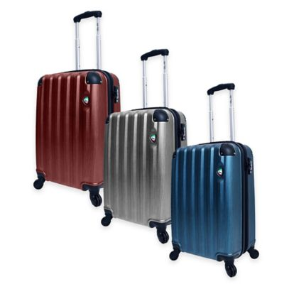 Mia Toro ITALY Lega Spazzolato 21-Inch 8-Wheel Expandable Carry On Spinner in Silver