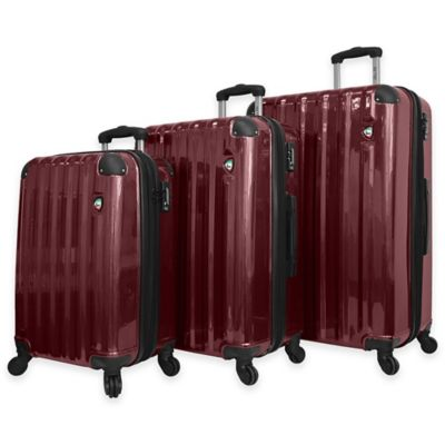 Mia Toro Spazzolato Lucido 3-Piece 8-Wheel Expandable Spinner Set in Burgundy