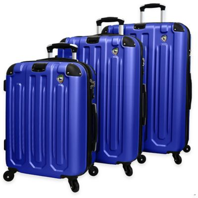 Mia Toro ITALY Regale Composite 3-Piece Hardside Spinner Suitcase Set in Blue
