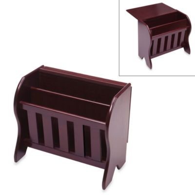 Farmhouse Espresso Magazine Rack with Drop Leaf Top