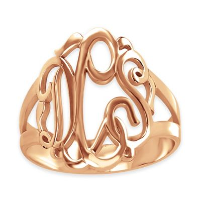 Alison & Ivy® 24K Rose Gold-Plated Sterling Silver Size 5 Ladies' Script Ring
