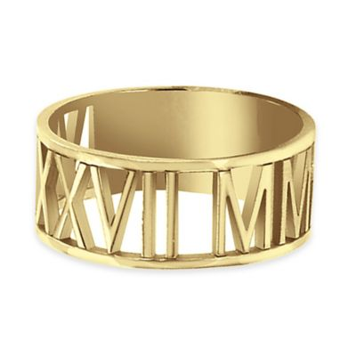 Alison & Ivy® 24K Yellow Gold-Plated Sterling Silver Laser Cut Size 7.5 Roman Numeral Ring