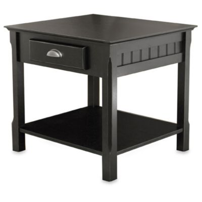 Riley End Table with Drawer in Black