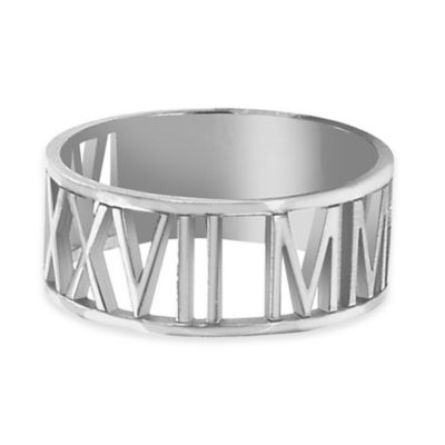 Alison & Ivy® Sterling Silver Laser Cut Size 6.5 Ladies' Roman Numeral Ring