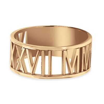 Alison & Ivy® 24K Rose Gold-Plated Sterling Silver Laser Cut Size 7.5 Roman Numeral Ring