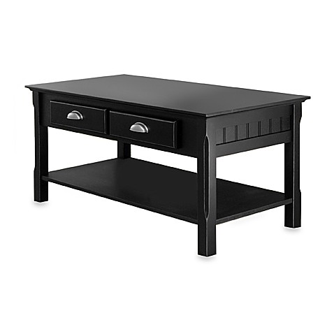 Riley Coffee Table with Drawers in Black