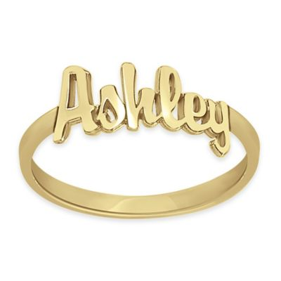 24K Yellow Gold-Plated Sterling Silver 18mm Size 8 Ladies' Script Name Ring