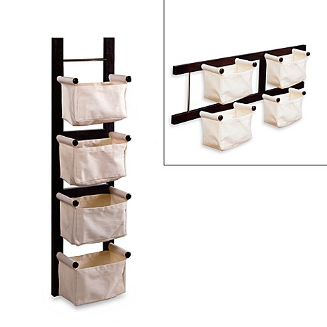 Espresso Magazine Rack with Canvas Baskets