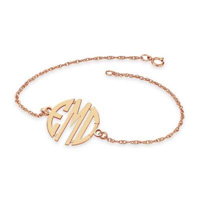 Alison & Ivy® 24K Rose Gold-Plated Sterling Silver 7.25-Inch Ladies' 20mm Block Bracelet