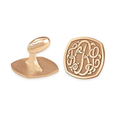 24K Yellow Gold-Plated Sterling Silver Cushion Shaped Cufflinks