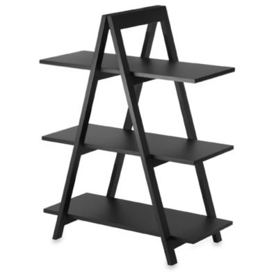 Black Three-Shelf A-Frame Bookcase