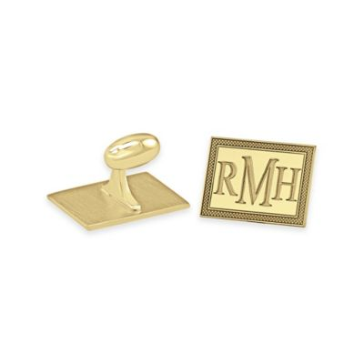 24K Yellow Gold-Plated Sterling Silver Checkerboard Border Rectangle Cufflinks