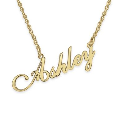 Alison & Ivy® 10K Yellow Gold 18-Inch Chain Slanted Script Nameplate Necklace