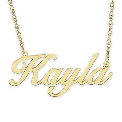 Alison & Ivy® 24K Yellow Gold-Plated Sterling Silver 18-Inch Cursive Font Nameplate Necklace