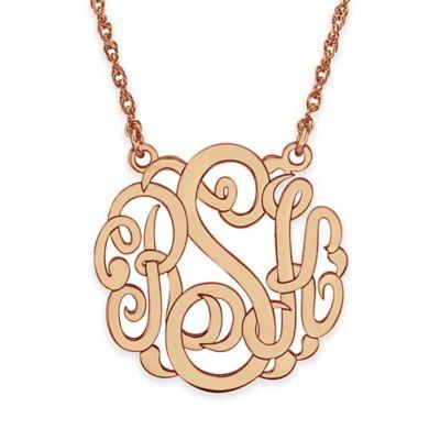 Alison & Ivy® 24K Rose Gold-Plated Sterling Silver 25mm Script Letter Pendant Necklace