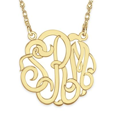 Alison & Ivy® 24K Gold-Plated Sterling Silver 40mm Script Letter Pendant Necklace