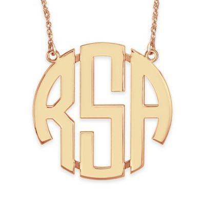 Alison & Ivy® 24K Rose Gold-Plated Sterling Silver 40mm Block Letter Pendant Necklace